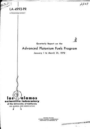 Primary view of object titled 'ADVANCED PLUTONIUM FUELS PROGRAM. Quarterly Report, January 1--March 31, 1972.'.