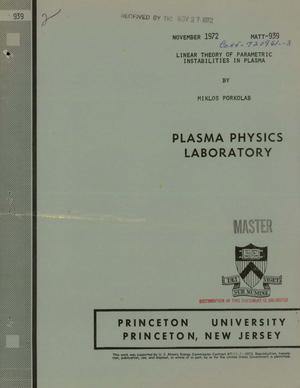 Primary view of object titled 'Linear Theory of Parametric Instabilities in Plasma.'.