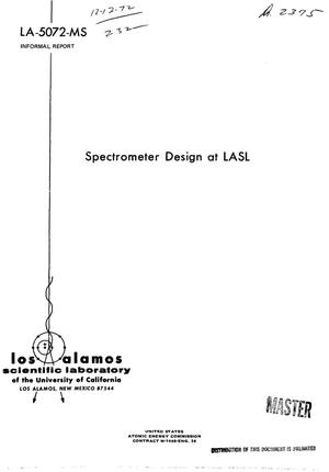 Primary view of object titled 'SPECTROMETER DESIGN AT LASL.'.