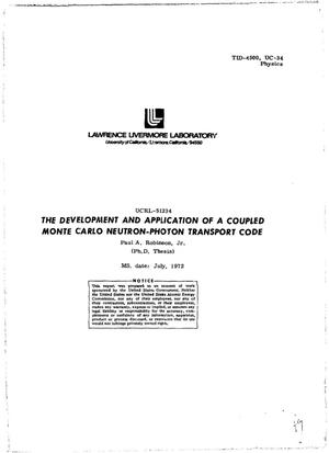 Primary view of object titled 'DEVELOPMENT AND APPLICATION OF A COUPLED MONTE CARLO NEUTRON--PHOTON TRANSPORT CODE.'.