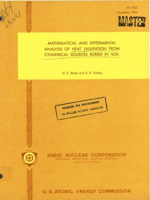 Primary view of object titled 'MATHEMATICAL AND EXPERIMENTAL ANALYSIS OF HEAT DISSIPATION FROM CYLINDRICAL SOURCES BURIED IN SOIL.'.