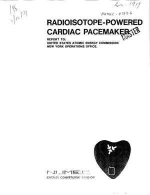 Primary view of object titled 'RADIOISOTOPE POWERED CARDIAC PACEMAKER PROGRAM. Quarterly Progress Report for Phase II, May 1--July 31, 1971.'.