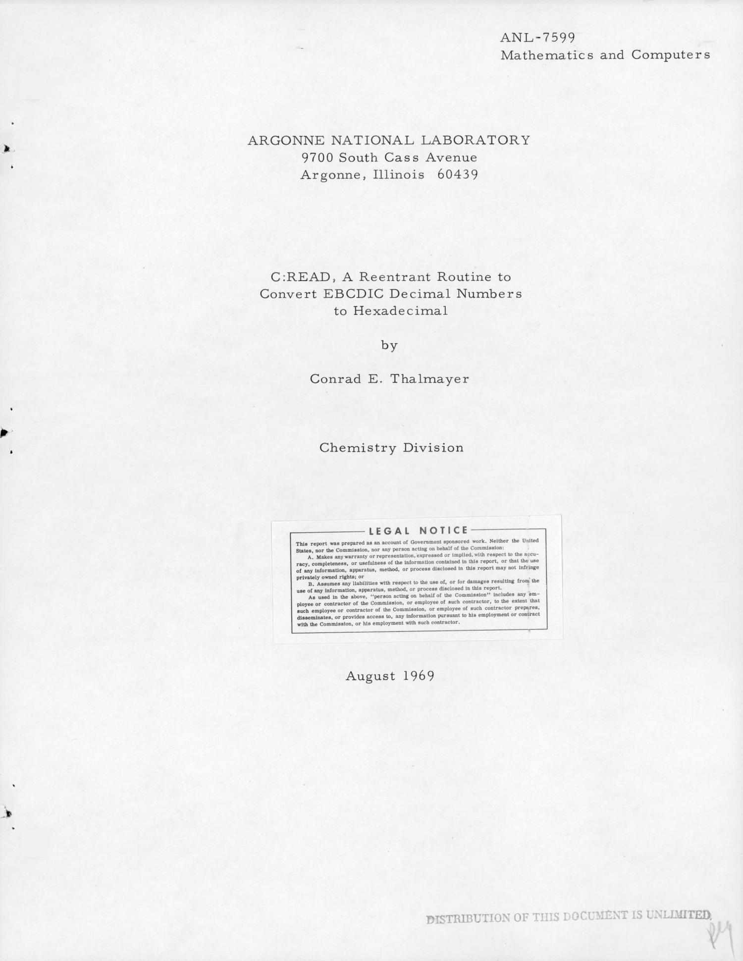 C:READ: A REENTRANT ROUTINE TO CONVERT EBCDIC DECIMAL