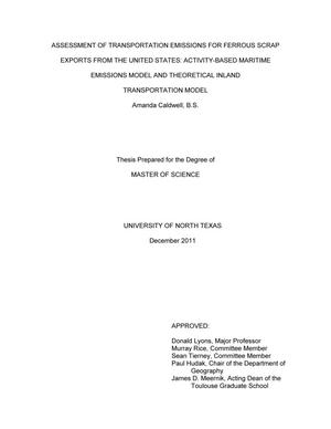 Primary view of object titled 'Assessment of Transportation Emissions for Ferrous Scrap Exports from the United States: Activity-Based Maritime Emissions Model and Theoretical Inland Transportation Model.'.