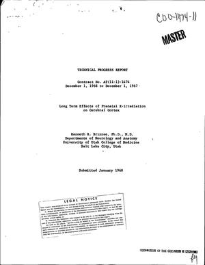 Primary view of object titled 'LONG TERM EFFECTS OF PRENATAL X-IRRADIATION ON CEREBRAL CORTEX. Technical Progress Report, December 1, 1966--December 1, 1967.'.