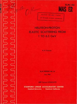 Primary view of object titled 'NEUTRON-PROTON ELASTIC SCATTERING FROM 1 TO 6.3 Gev'.