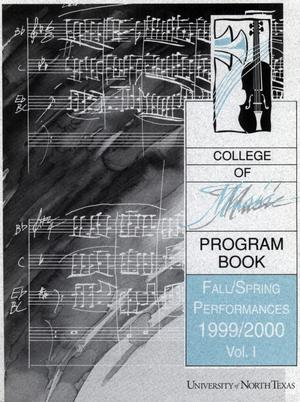 College of Music program book 1999-2000 Fall/Spring Performances Vol. 1