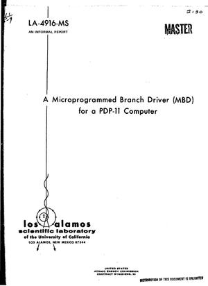Primary view of object titled 'MICROPROGRAMMED BRANCH DRIVER (MBD) FOR A PDP-11 COMPUTER.'.