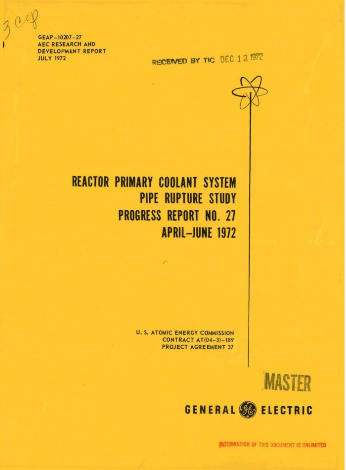 Reactor Primary Coolant System Pipe Rupture Study Progress Report No