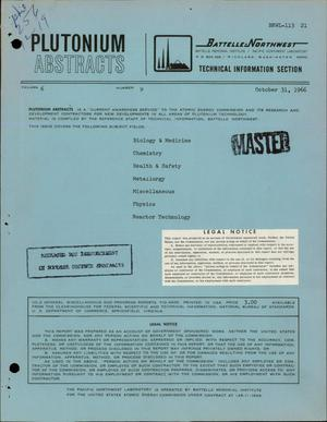 Primary view of object titled 'PLUTONIUM ABSTRACTS. VOLUME 6, NUMBER 9.'.