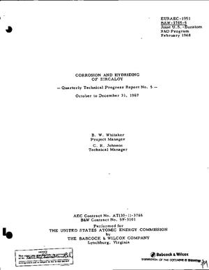 Primary view of object titled 'CORROSION AND HYDRIDING OF ZIRCALOY. Quarterly Technical Progress Report No. 5, October--December 31, 1967.'.