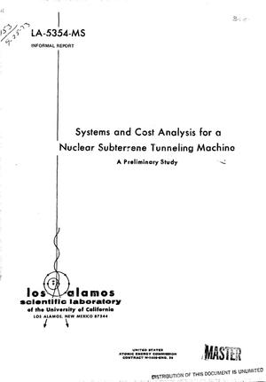 Primary view of object titled 'Systems and cost analysis for a Nuclear Subterrene Tunneling Machine. A preliminary study'.