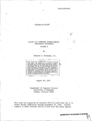 Primary view of object titled 'ILLIAC III COMPUTER SYSTEM MANUAL: TAXICRINIC PROCESSOR. VOLUME 3.'.