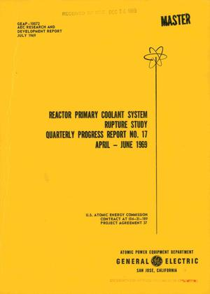 Primary view of object titled 'REACTOR PRIMARY COOLANT SYSTEM RUPTURE STUDY. Quarterly Progress Report No. 17, April--June 1969.'.