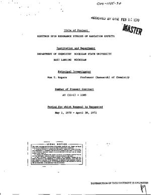 Primary view of object titled 'ELECTRON SPIN RESONANCE STUDIES OF RADIATION EFFECTS. Technical [Progress] Report, January 1, 1969--December 31, 1969.'.