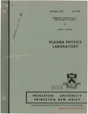 Primary view of object titled 'Anomalous Absorption of Radiation by Plasmas.'.