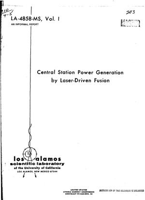 Primary view of object titled 'CENTRAL STATION POWER GENERATION BY LASER-DRIVEN FUSION.'.