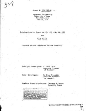 Primary view of object titled 'Research in high temperature physical chemistry. Technical progress report, May 15, 1971--May 14, 1972 and final report'.