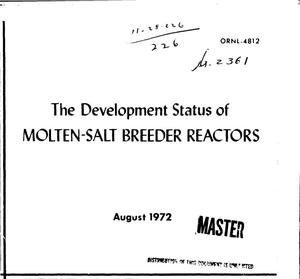 Primary view of object titled 'DEVELOPMENT STATUS OF MOLTEN-SALT BREEDER REACTORS.'.