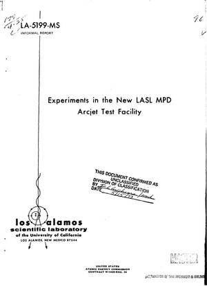 Primary view of object titled 'Experiments in the new LASL MPD arcjet test facility'.