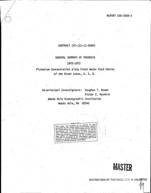 Primary view of object titled 'Plutonium concentration along fresh water food chains of the Great Lakes, U. S. A. General summary of progress, 1972--1973'.