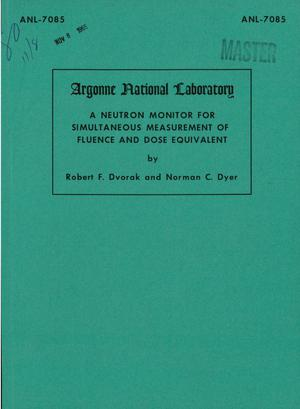 Primary view of object titled 'A NEUTRON MONITOR FOR SIMULTANEOUS MEASUREMENT OF FLUENCE AND DOSE EQUIVALENT'.