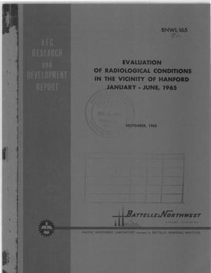 Primary view of object titled 'EVALUATION OF RADIOLOGICAL CONDITIONS IN THE VICINITY OF HANFORD, JANUARY- JUNE 1965'.