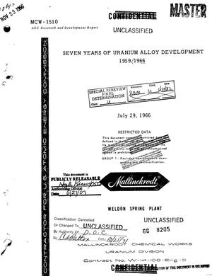 Primary view of object titled 'Seven Years of Uranium Alloy Development at Weldon Spring, 1959/1966.'.