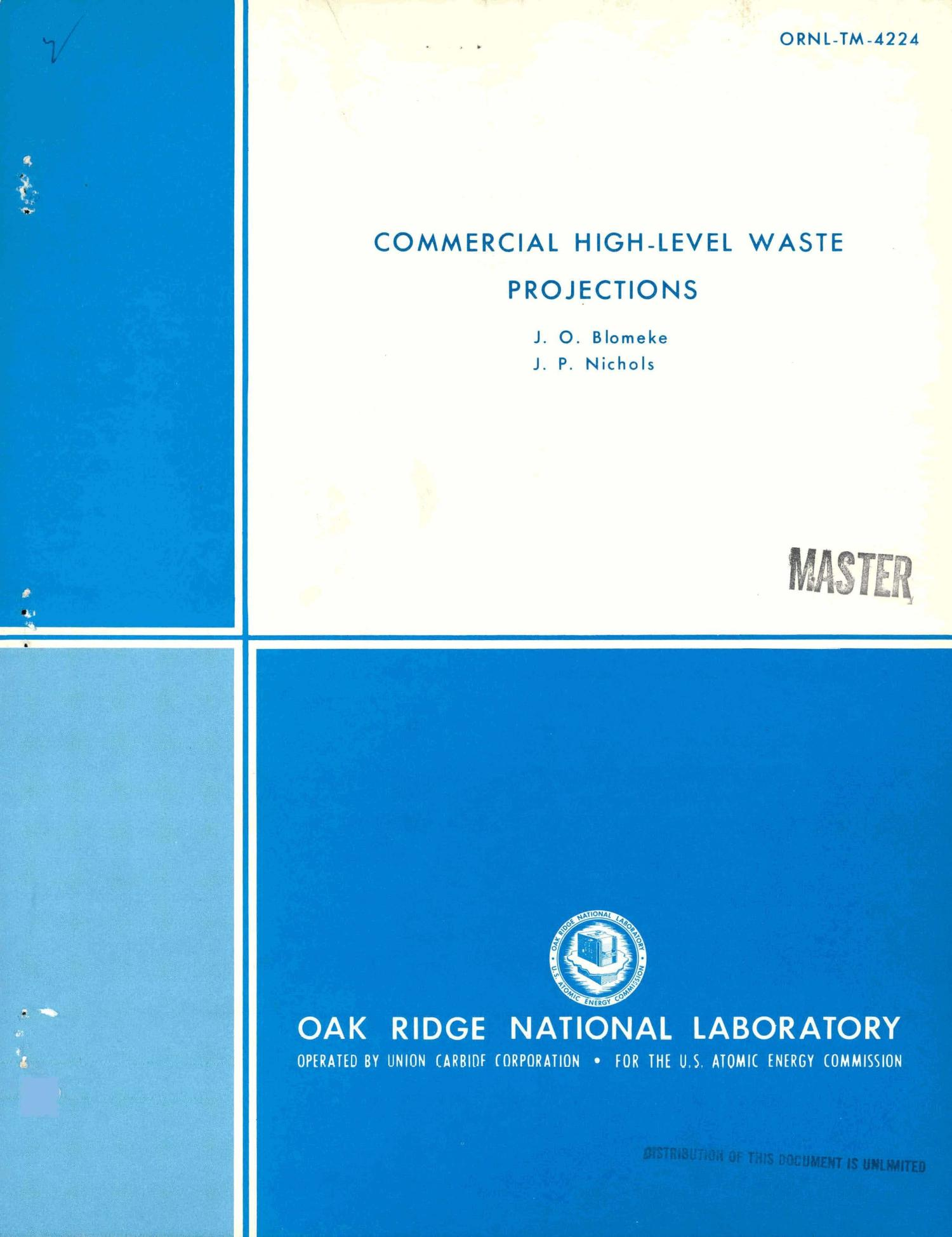 Commercial high-level waste projections                                                                                                      [Sequence #]: 1 of 25