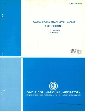 Primary view of object titled 'Commercial high-level waste projections'.