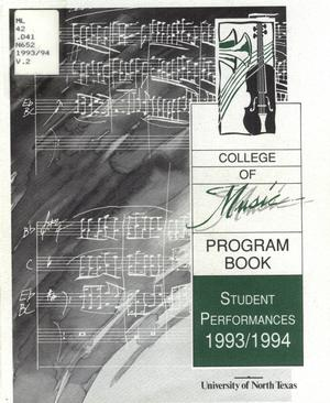 Primary view of object titled 'College of Music program book 1993-1994 Student Performances'.