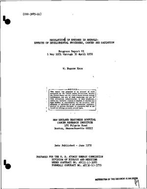 Primary view of object titled 'REGULATION OF ENZYMES IN ANIMALS: EFFECTS OF DEVELOPMENT PROCESSES, CANCER, AND RADIATION. Progress Report VI, May 1, 1971--April 30, 1972'.