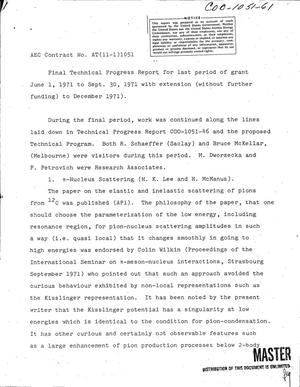 Primary view of object titled 'Final technical progress report, June 1--December 1971.'.
