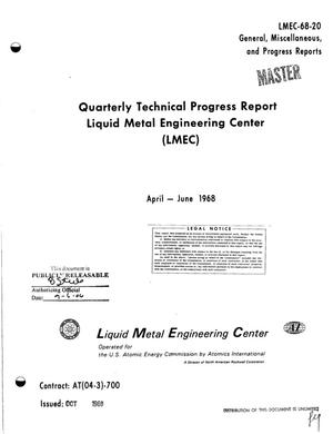 Primary view of object titled 'LIQUID METAL ENGINEERING CENTER (LMEC). Quarterly Technical Progress Report, April--June 1968.'.