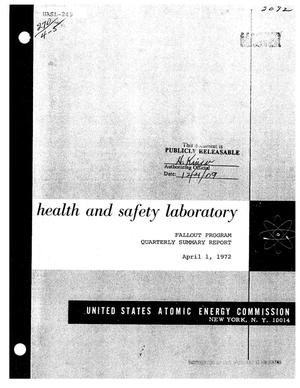 Primary view of object titled 'FALLOUT PROGRAM QUARTERLY SUMMARY REPORT, DECEMBER 1, 1971--MARCH 1, 1972.'.