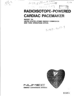 Primary view of object titled 'RADIOISOTOPE POWERED CARDIAC PACEMAKER PROGRAM. PHASE II. Quarterly Progress Report, August 1, 1971--October 31, 1971.'.