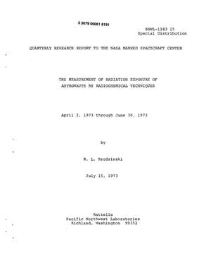 Primary view of object titled 'Measurement of radiation exposure of astronauts by radiochemical techniques. Quarterly research report to the NASA Manned Spacecraft Center, April 2, 1973--June 30, 1973'.