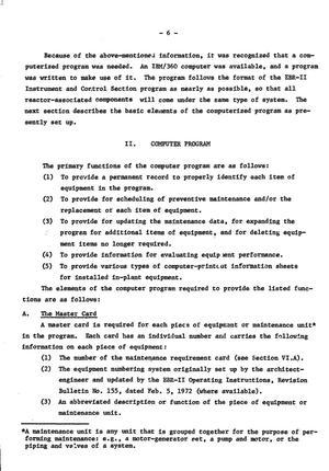 Computerized preventive-maintenance program for EBR-II