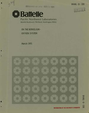 Primary view of object titled 'On the Berkelium--Oxygen System.'.