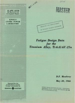 Primary view of object titled 'Fatigue Design Data for the Titanium Alloy, Ti--6Al--6V--2Sn.'.