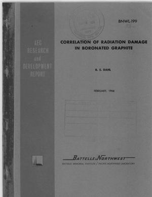 Primary view of object titled 'CORRELATION OF RADIATION DAMAGE IN BORONATED GRAPHITE'.