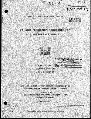 Primary view of object titled 'FALLOUT PREDICTION PROCEDURE FOR SUBSURFACE ADM'S.'.
