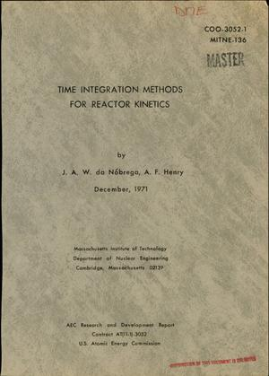Primary view of object titled 'TIME INTEGRATION METHODS FOR REACTOR KINETICS.'.
