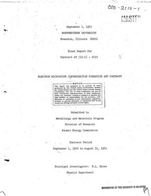 Primary view of object titled 'ELECTRON MICROSCOPE CONTAMINATION FORMATION AND CONTRAST. Final Report, September 1, 1970--August 31, 1971.'.