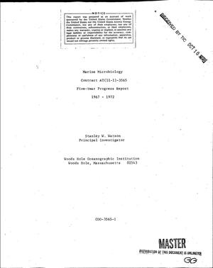 Primary view of object titled 'MARINE MICROBIOLOGY. Five-Year Progress Report, 1967--1972.'.