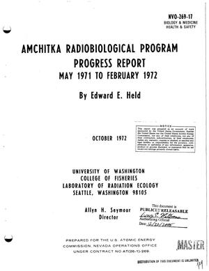 Primary view of object titled 'AMCHITKA RADIOBIOLOGICAL PROGRAM. Progress Report, May 1971--February 1972.'.