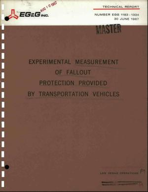 Primary view of object titled 'EXPERIMENTAL MEASUREMENT OF FALLOUT PROTECTION PROVIDED BY TRANSPORTATION VEHICLES. Report No. L-853.'.