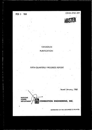 Primary view of object titled 'VANADIUM PURIFICATION. Quarterly Progress Report No. 5, October 1--December 31, 1967.'.