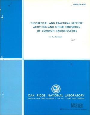Primary view of object titled 'Theoretical and practical specific activities and other properties of common radionuclides.'.