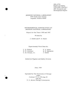 Primary view of object titled 'ENVIRONMENTAL RADIOACTIVITY AT ARGONNE NATIONAL LABORATORY. Report for the Years 1960 and 1961'.